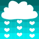 Cloud hearts rain baby shower card Stock Images