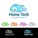 Cloud Home, Real Estate vector logo design with House and cloud shape, Represented internet, Data or Hosting. Internet, Data, Hosting vector logo design Royalty Free Stock Photo