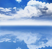 Cloud Horizon Background. Horizon concept of clouds reflected into blue Stock Image