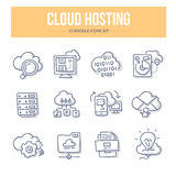 Cloud Hosting Doodle Icons Royalty Free Stock Photo
