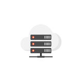 Cloud hosting flat icon. Seo and development, data base server sign, a colorful solid pattern on a white background, eps 10 Stock Photo