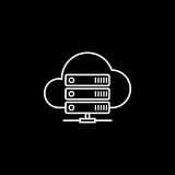 Cloud hosting line icon. Seo and development, data base server sign, a linear pattern on a black background, eps 10 Royalty Free Stock Photo