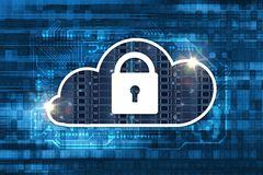 Cloud Hosting Safety Concept. Cloud Icon with Padlock on Digital Background Royalty Free Stock Photo