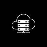 Cloud hosting solid icon. Seo and development, data base server sign, a filled pattern on a black background, eps 10 Stock Photography