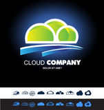 Cloud hosting storage logo icon set Stock Photos