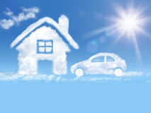 Cloud house and car in the blue sky and shining sun. House nd car of clouds a in the blue sky and shining sun Royalty Free Stock Photography