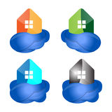 Cloud and house. Cloud home vector logo design and  house, represented data, internet, sophisticated and modern real estate Royalty Free Stock Photo