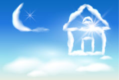 Cloud house in the sky Royalty Free Stock Image