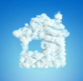 Cloud House symbol shape over blue sky Royalty Free Stock Photo