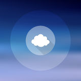 Cloud icon on blurry sky background Royalty Free Stock Images