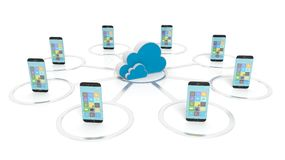 Cloud icon with communication devices around it Stock Image