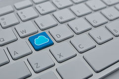 Cloud icon with copy space on modern computer keyboard button, Royalty Free Stock Photo