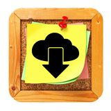 Cloud Icon on Cork Message Board. Stock Photo