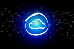 Cloud icon on a dark abstract background - communication concept Royalty Free Stock Photography