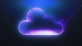 Cloud icon form purple binary tunnel