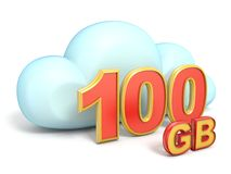 Cloud icon 100 GB storage capacity 3D. Rendering isolated on white background Royalty Free Illustration