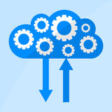 Cloud icon with Gears flat illustration. File technology cloud concept. Cloud icon with Gears flat vector illustration. File technology cloud concept Royalty Free Stock Image