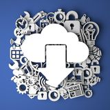 Cloud Icon on Handmade Decoration of Paper. Stock Photo