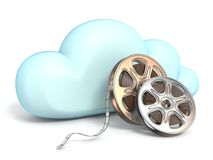Cloud icon with movies tapes 3D. Rendering isolated on white background stock illustration