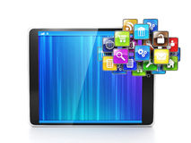 Cloud icon out of the tablet. Creating applications Stock Images