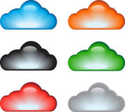 Cloud icon set. Colorful glossy cloud icon set. Vector illustration stock illustration