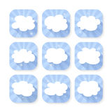 Cloud icon set. Illustration of blue and white cloud icon set Stock Images