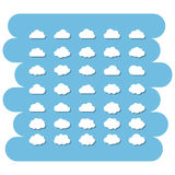 Cloud icon set. Cartoon clouds set.Cloud sign icons set.Abstract white cloud vector symbol isolated on a blue background.Sky,Vector cloud technology,app,net Stock Photography