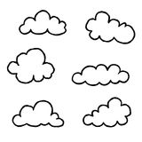 Cloud icon set. Doodle line art weather sign Royalty Free Stock Photos