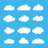 Cloud icon set. Flat design. Vector illustration. Royalty Free Stock Photography
