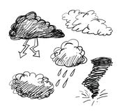 Cloud Icon Set. Vector. Cloud Icon Set. hand drawing sketch Vector Royalty Free Stock Photo