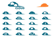 Cloud icon set. Royalty Free Stock Images