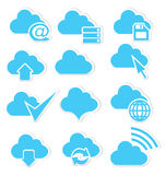 Cloud icon set internet. Vector illustration of cloud icon set with arrows and internet symbols Royalty Free Stock Image