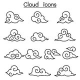 Cloud icon set in thin line style Stock Image