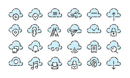 Cloud Icon set. For web and mobile. Modern minimalistic flat design elements of cloud computing and wireless technology Royalty Free Stock Images