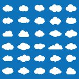 Cloud  icon set white color on blue background. Sky flat i. Llustration collection for web. Vector illustration Royalty Free Stock Photo