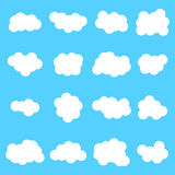 Cloud  icon set white color on blue background. Royalty Free Stock Photography