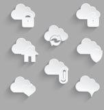 Cloud icon set white plastic lock Stock Image