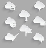 Cloud icon set white plastic save Royalty Free Stock Images