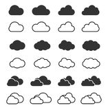 Cloud icon and shapes set. Clouds silhouette isolated vector. Cloud symbol for web and mobile applications Stock Photography