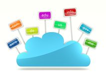 Cloud icon with signs of domain names royalty free illustration