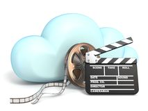Cloud icon vith movie tape and clapper 3D. Rendering isolated on white background vector illustration