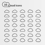 Cloud icons big set Stock Photography