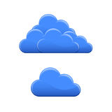 Cloud icons. Blue glossy cloud icon. Cloud hosting vector illustration Royalty Free Stock Image