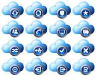 Cloud Icons Blue  - SET 2. Virtual cloud icons upload, download buttons, phone, restore, backup and save computer files and digital media Stock Photo