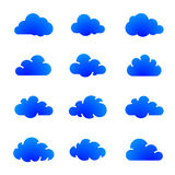 Cloud icons. Blue cloud icons on white. Vector icon set of clouds. Vector illustration Stock Photos