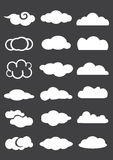 Cloud Icons in Different Designs Isolated on Black Background Royalty Free Stock Image