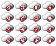 Cloud Icons Red  - SET 2. Virtual cloud icons upload, download buttons, phone, restore, backup and save computer files and digital media Stock Image