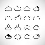 Cloud icons. Set of 16 cloud icons Stock Photos