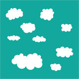 Cloud icons set on blue sky background. Royalty Free Stock Photography