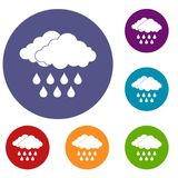 Cloud icons set. In flat circle reb, blue and green color for web Stock Image